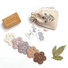 Úžitkový textil - BIO Odličovacie kvetinky 5 ks (rôzne prírodné) + vrecko (100% biobavlna) - 9507532_