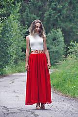 Sukne - Červená folk sukňa - 9509535_