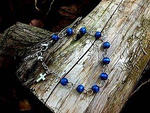 Náramky - ruženček na ruku z drevených korálok a ocele  - modrý - 9507961_