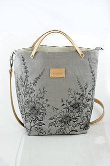 Kabelky - Dámska elegantná kabelka so šedého nepremokavého ľanu s ručnou maľbou