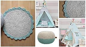 Úžitkový textil - Háčkovaný koberec gray, mint, white - 9507614_