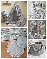 Úžitkový textil - Háčkovaný koberec gray, mint, white - 9507616_