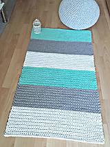 Úžitkový textil - Háčkovaný koberec gray, mint, white - 9507621_