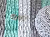 Úžitkový textil - Háčkovaný koberec gray, mint, white - 9507622_