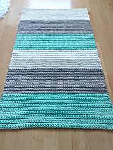 Úžitkový textil - Háčkovaný koberec gray, mint, white - 9507623_