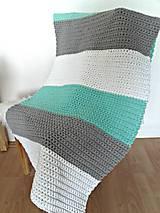 Úžitkový textil - Háčkovaný koberec gray, mint, white - 9507625_
