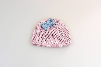 Detské čiapky - Ružovo-bledomodrá čiapka mašličkou EXTRA FINE - 9507852_