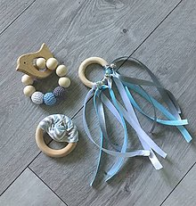 Detské doplnky - Set hrkáliek a hryzátka (bielo-šedo-modrá) - 9507993_