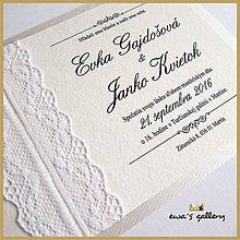 Papiernictvo - Svadobné oznámenie ~Čipka Silver~ - 9508375_
