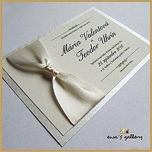 Papiernictvo - Svadobné oznámenie s uzlom ~Satén Crema~ - 9508384_