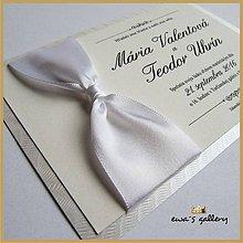 Papiernictvo - Svadobné oznámenie s uzlom ~Satén White~ - 9508405_