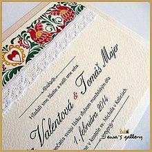 Papiernictvo - Svadobné oznámenie ~Folklor Silver~ - 9509643_