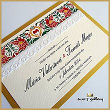 Papiernictvo - Svadobné oznámenie ~Folklor Gold~ - 9509670_