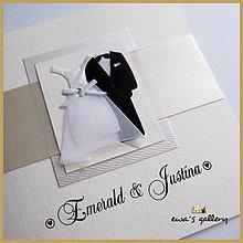 Papiernictvo - Svadobné oznámenie otvárateľné ~Wedding satén~ - 9509742_