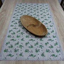 Úžitkový textil - Zeleno sivé ružičky na režnej - obrus štvorec 95x45 - 9509517_