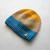 Detské čiapky - Trojfarebná pruhovaná čiapka s tučniakom - 9507770_
