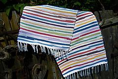 Úžitkový textil - Tkaný bielo-pestrofarebný koberec - 9508317_