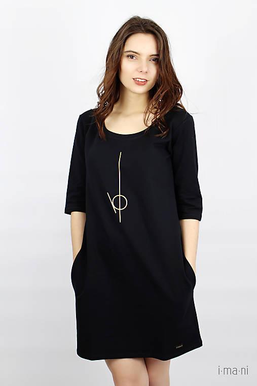 Dámske šaty s vreckami čierne IO2