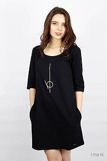 Šaty - Dámske šaty s vreckami čierne M14 IO2 - 9507496_
