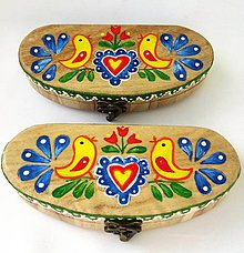 Krabičky - Puzdro drevené -folk-natur-ručne maľované - 9512124_