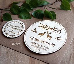 Papiernictvo - Drevené svadobné oznámenie JELENE - 9511259_