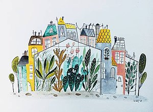 Obrazy - Mesto 39 ilustrácia  / originál maľba - 9510791_
