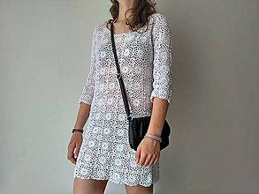 Šaty - Háčkované biele mini šaty - 9511107_