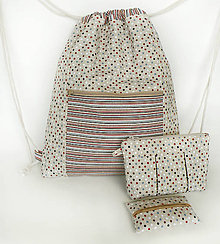 Batohy - Sada bodkovaný batoh + taštička + puzdro - 9511140_