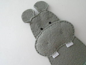 Hračky - Bábky na prsty: zvieratá (Hroch) - 9510807_