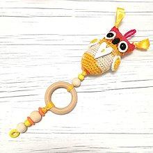 Hračky - SOVIČKA HUHU - hračka na kočík (žltá) - 9510415_