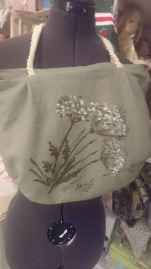 Kabelky - Ľanová taška maľba na textil - 9510658_