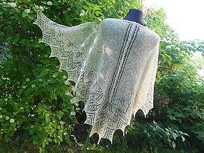 Šatky - Pletený šatka z ručne pradenej vlny slovenských ovečiek Suffolk - 9514091_