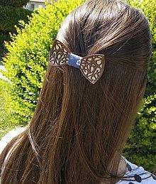 Ozdoby do vlasov - Krásna drevená spona do vlasov - 9513935_
