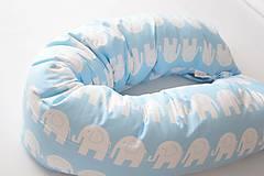 - Tehotenský vankúš / Vankúš na dojčenie modré sloníky - 9512439_