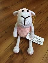 Hračky - Ružová háčkovaná ovečka - 9512786_