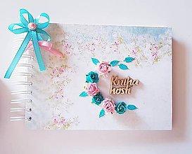 Papiernictvo - svadobná kniha hostí tyrkysová s ružovou - 9512479_