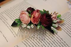 """- Kvetinový hrebienok """"vintage"""" ružový - 9514526_"""