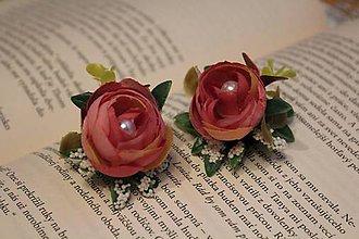 Náušnice - Kvetinové náušnice ružové pivonky - 9514692_