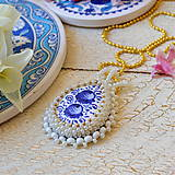 Náhrdelníky - Folklore - šitý náhrdelník - 9514562_