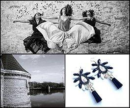 Náušnice - bielo čierne strapcové - strapec si vyberte :) - 9514196_