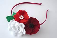Kvetinová čelenka M (Biela+ červená)
