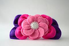 Kvetinová čelenka M (Ružová+ fialová)