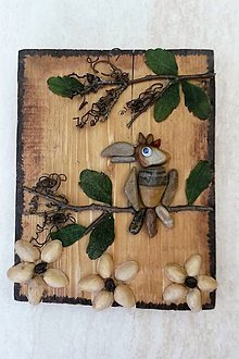 Obrazy - Drevený obrázok - Papagáj na strome - 9513960_