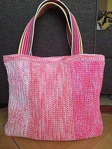 Veľké tašky - Háčkovaná ružová taška - 9514057_