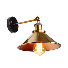 Svietidlá a sviečky - Nástenné svietidlo so zlatým hlbokým tienidlom - 9514224_