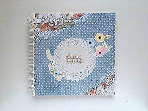 Papiernictvo - Svadobná kniha hostí modrá s bodkami - 9514732_