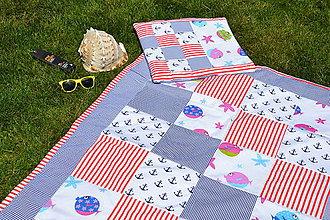 Textil - Námornícka patchworková deka pre dievčatá - 9513314_