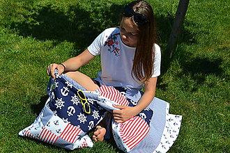 Textil - Námornícka patchworková deka - 9513342_