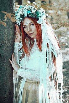 Ozdoby do vlasov - Romantický, nežný mentolový venček s čipkami - 9512207_