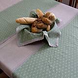 Úžitkový textil - Drobné zelené ornamenty na režnej - šerpa naprieč stola 107x36 - 9514513_